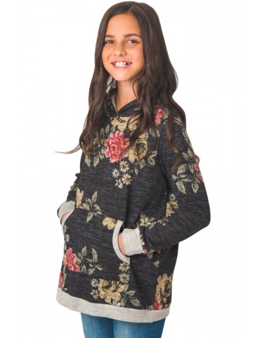 Little Girls' Black Floral Hoodie