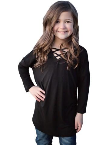 Black Long Sleeve Crisscross Top for Girls
