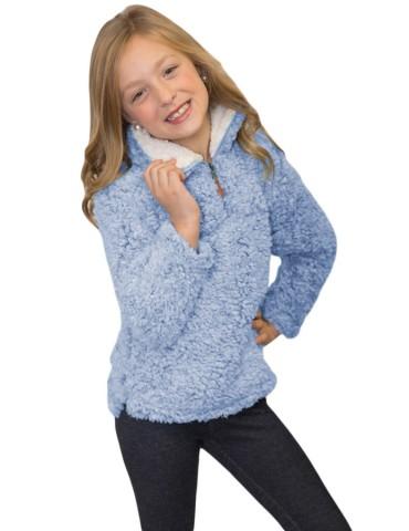 Blue Luxe Fuzzy Pullover Sherpa Girl Sweatshirt