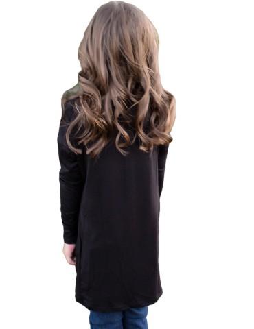 Black Twist Knot Detail Long Sleeve Girl's Top