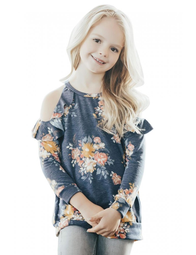 Floral Cold Shoulder Ruffles Girl Top