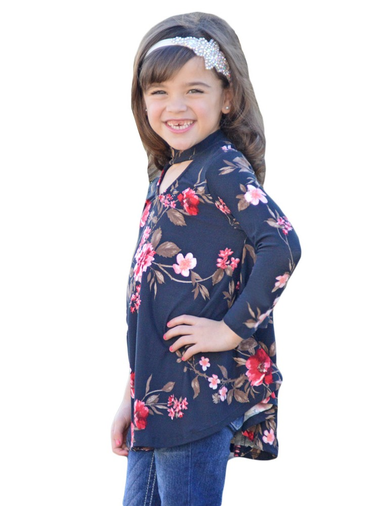 Navy Floral Key Hole Front Girl's Long Sleeve Top