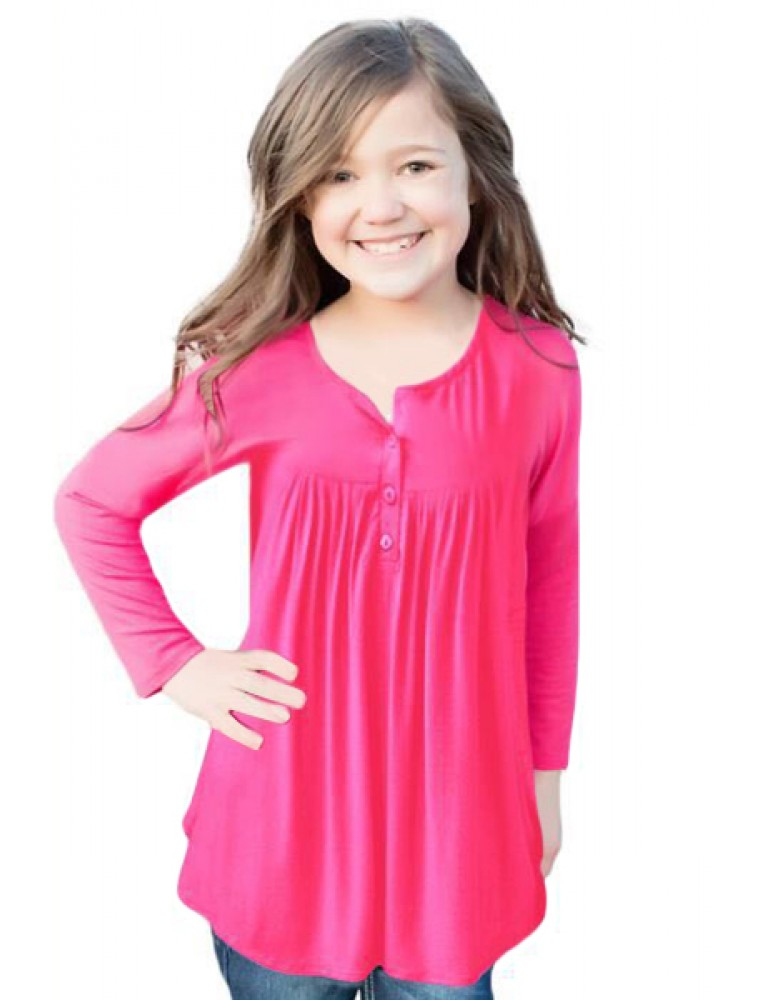 Pink Long Sleeve Button Detail Pleated Little Girls Top