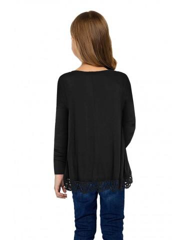 Black Long Sleeve Lace Trim O-neck A-line Tunic Blouse
