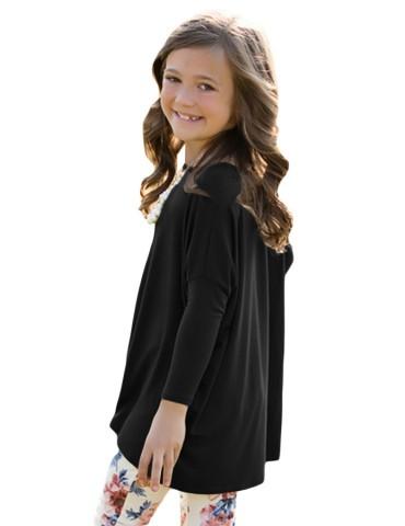 Black Soft Cotton Long Sleeve Girl Top