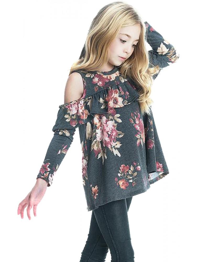Black Floral Cold Shoulder Ruffles Girl Top