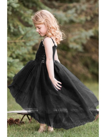 Black Sequin Bodice Tulle Hi-low Dress