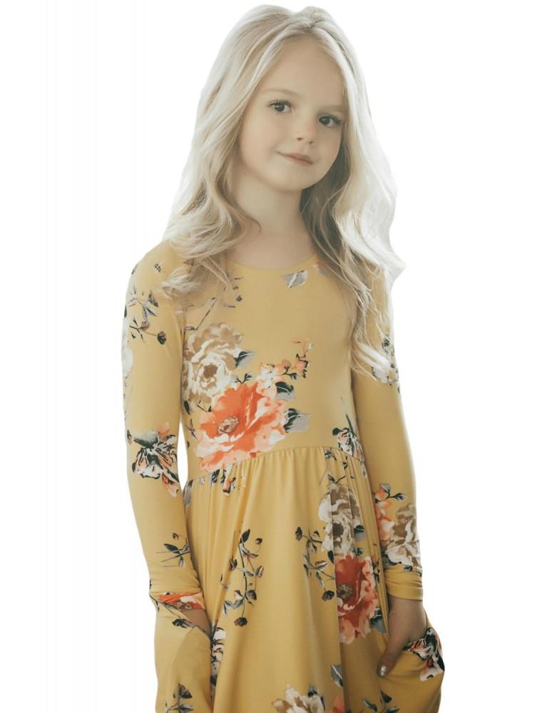 Floral Mustard Swing Dress with Hidden Pockets