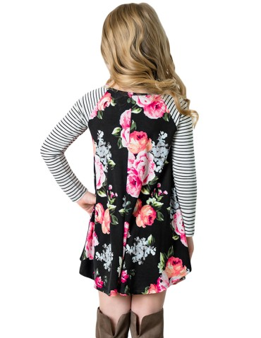 Black Spring Fling Floral Striped Sleeve Short Dress for Kids