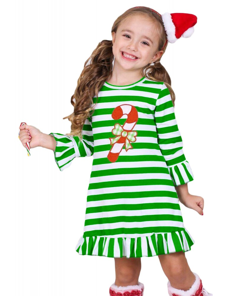 Candy Cane Accent Green White Striped Christmas Dress