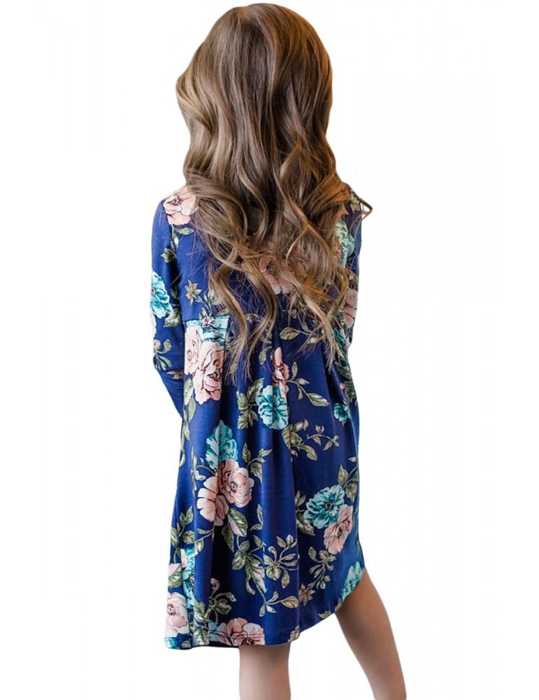 Floral Blue Swing Dress with Hidden Pockets