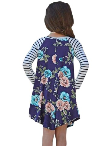 Blue Spring Fling Floral Striped Sleeve Short Dress for Kids