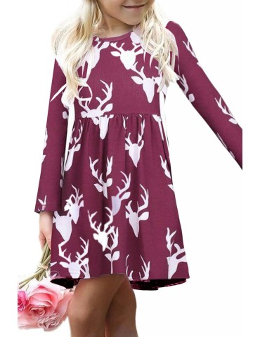 Burgundy Christmas Deer Print Long Sleeve Girl Dress