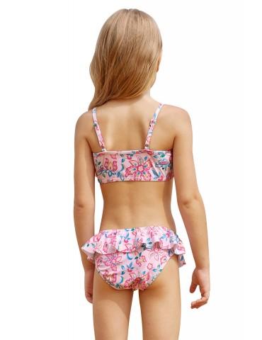 Blue Pink Multi-layer Ruffles Toddler Girls Swimwear