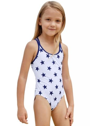 Blue Stars Print White Kid Girls Maillot
