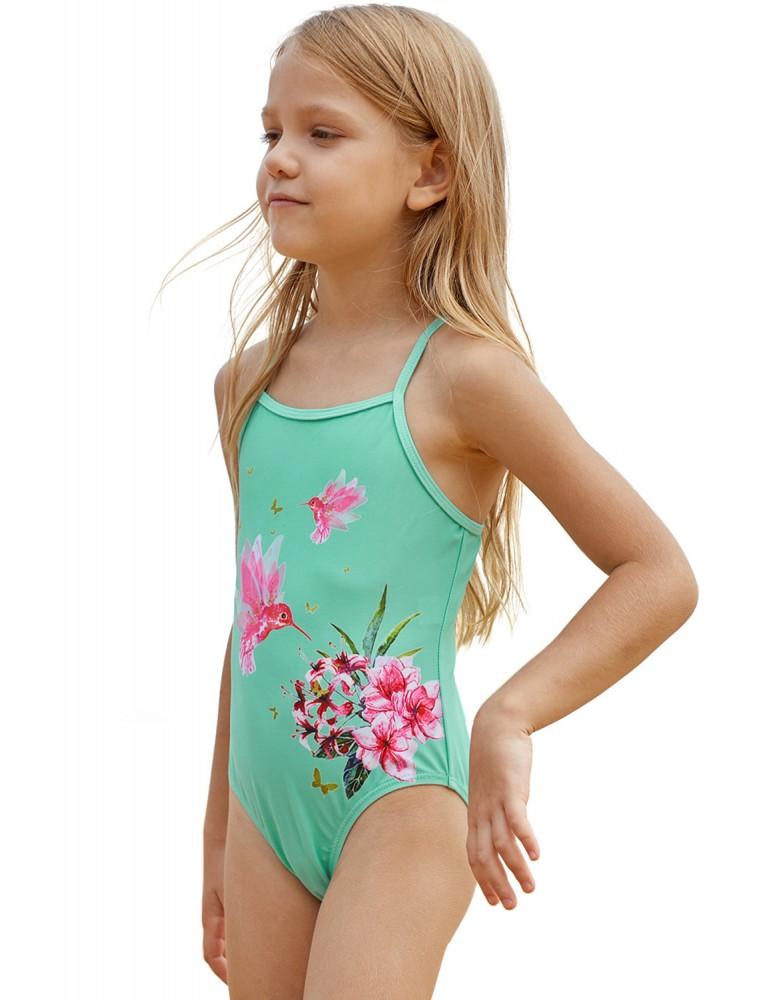 Mint Floral and Birds Little Girls One-piece Swimwear