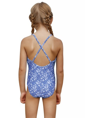 Blue White Paisley Print Little Girl Maillot with Ruffle
