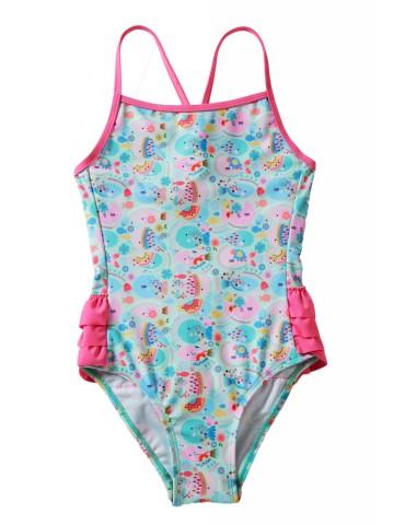 Girls' Cartoon Fish World Ruffle Back Teddy Swimsuit