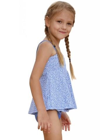 Blue Printed Kid Girls Tankini Swimwear