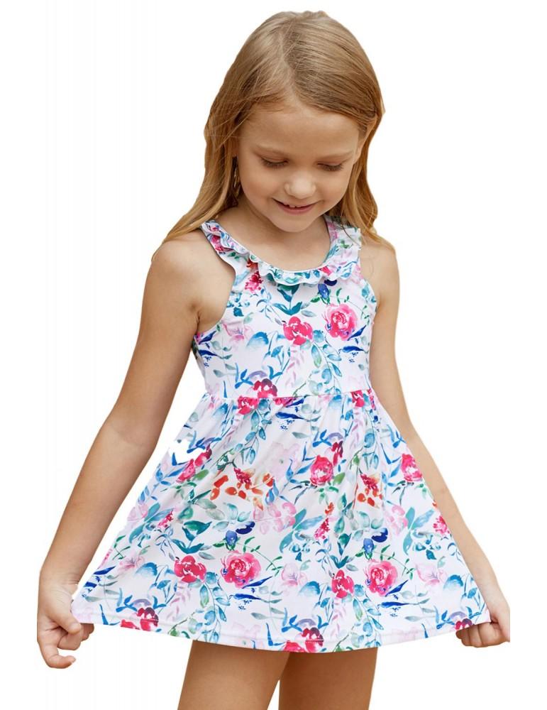 Floral Pattern Ruffle Neckline Toddler Girls Swim Dress