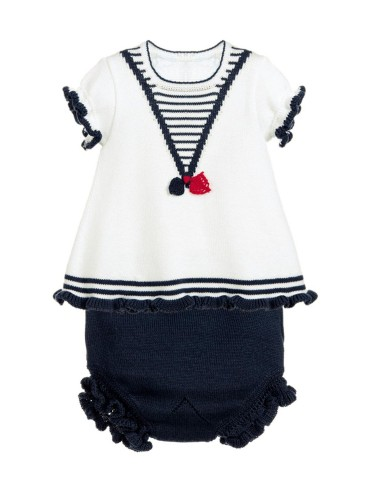 White Navy Ruffled T-shirt and Panty Baby Suit
