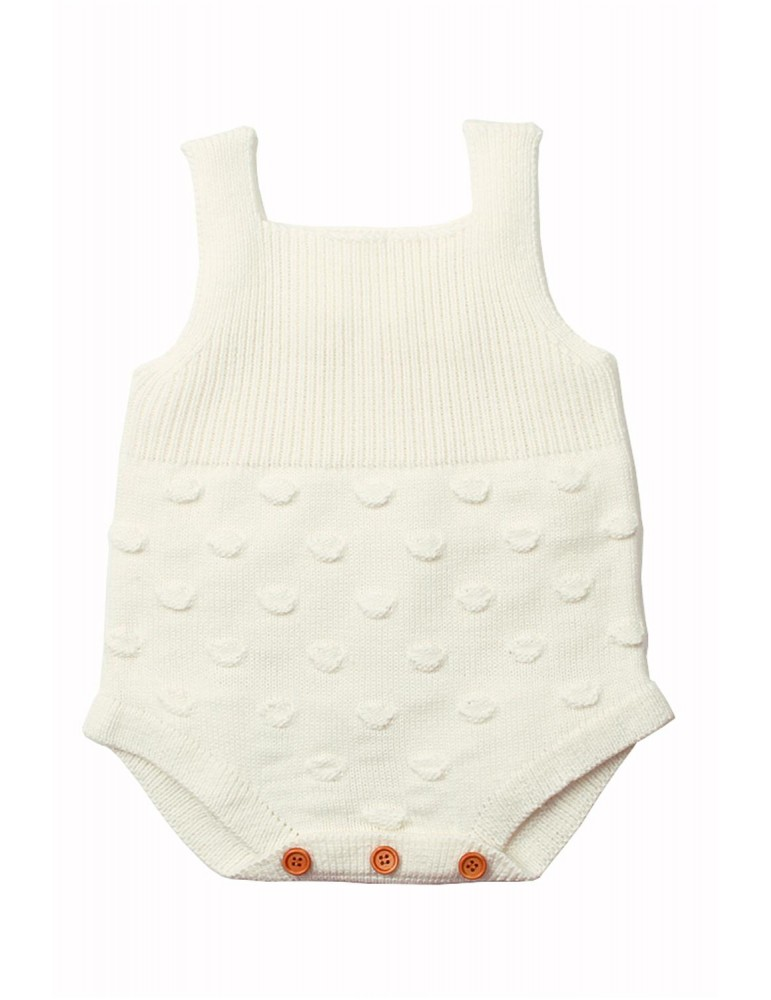 White Ribbed&Spotted Cotton Knit Sleeveless Baby Romper