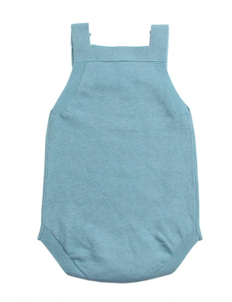 Light Blue Star Pattern Knitted Infant Romper Baby Wear