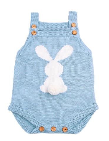 Cute Bunny Knitted Sapphire Newborn Romper